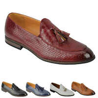 Mens Vintage Snakeskin Print Shiny Leather Tassel Loafers Smart Casual MOD Shoes