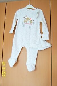"""BABY WHITE ALL IN ONE 3 - 6 MONTHS WITH HAT """"MY 1ST CHRISTMAS"""" LONG SLEEVES BNWT"""