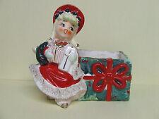 Vintage Lefton Christmas Holiday Shopper Wall Pocket/Planter (ESD/#024)