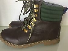 Tommy Hilfiger Charles High Top Boots 4 EU 36 Brown Olive Lace Up Faux Leather