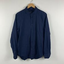 Zara Man Mens Button Up Shirt Size Large Slim Fit Long Sleeve Blue Polka Dot