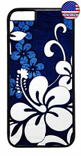 Blue Floral Henna Flower Garden Rubber Case Cover For iPhone 8 7 Plus 6 5 4 X