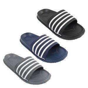 Mens Sliders Slides Summer beach Flip Flops Slide Sandals Size UK 6 7 8 9 10 11