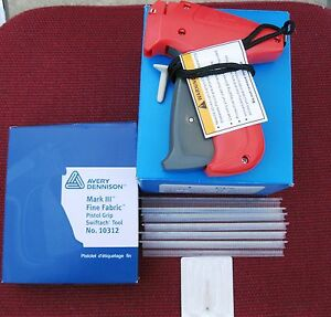"10312 Avery Dennison Fine Fabric Price Tag Gun +10000 1/4"" Ext. Fine Clear Barbs"