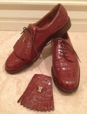 SALVATORE FERRAGAMO Brown Crocadile Embossed Leather Golf Shoes Kilts 10 AAAA