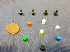 5 pieces + plastic cap 6x6x7mm Tactile Push Button Switch red white blue 5x c1