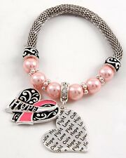 Breast Cancer Awareness Pink Ribbon Hope Cure Love Heart Pearls Bracelet #261-E