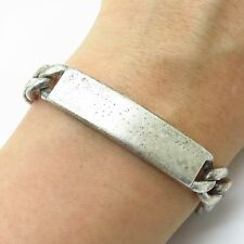 Vtg 925 Sterling Silver Thick Heavy Men's Cable Link ID Bracelet 8.5""