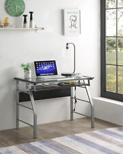 Kings Brand Furniture - Metal & Glass Top Home Office Computer Desk
