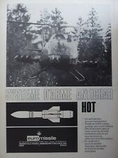 6/1974 PUB EUROMISSILE HOT ANTI TANK MBB BO 105 COMBAT HELICOPTER FRENCH AD