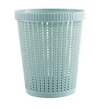 New Blue Home Office Plastic Basket Trash Waste Bin Hollow Garbage Bag Box