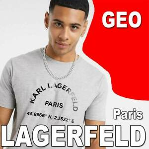 LIMITED MEN'S KARL LAGERFELD PARIS GEO T-SHIRT LIGHTWEIGHT TEE GREY HEATHER 2XL