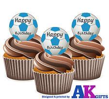 12 Bleu Ciel Ballons de Foot Joyeux Anniversaire Décoration Comestible Cupcake