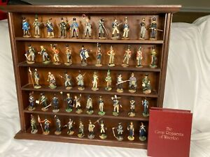 """1979 Franklin Mint """"The Great Regiments of Waterloo"""" Pewter Figures w/ Display"""