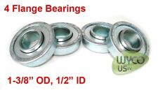 "QTY.4, FLANGED BEARINGS 1/2"" ID x 1-3/8"" OD, FOR GO-KARTS, LAWNMOWERS & MORE"