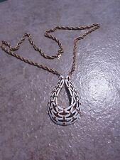 Vintage Crown Trifari White Enamel ~ Gold-toned Basket Weave Teardrop  Necklace