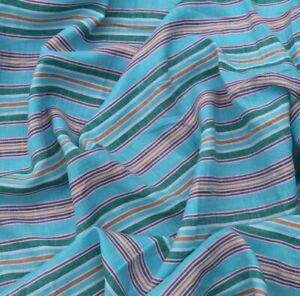 Blue stripe Pure 100% Linen Fabric Remnant DIY