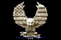 3D STL Model for CNC Router Carving Artcam Aspire USA Flag America Eagle D631
