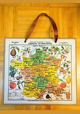 Poster Map France DEYROLLE wall hanging drawing vtg carte fruit agricole