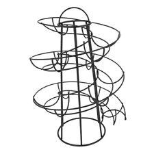 Iron Spiral Egg Holder Roller Rack Organizer Dispenser Keeper 24 Eggs Black