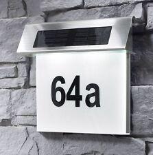 Solar Hausnummer mit LED Beleuchtung Hausnummerleuchte Solar Edelstahl SH02