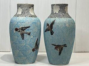 Antique Japanese Meiji Period Pair Of Matsuura Kyoto Satsuma Vases Signed 19 Cm