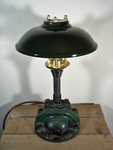 Unique Vintage Cast Iron/Brass Industrial Green Steampunk Table/Desk Lamp/Light