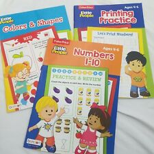 Fisher Price Educational Workbooks Age 4-6 Lot 3 Colors Numbers Shapes Printing