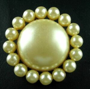 KJL Kenneth Jay Lane Bold Vintage faux Pearl Cabochon Ball Cast Floral Pin