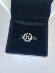 791852CZ Genuine Pandora Vintage H openwork RETIRED silver charm + box + bag