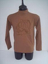 T-shirt Roberto Cavalli,maniche lunghe,ricamo tigre,colore tinta cammello,tg 48