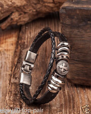 Stud Leather Wristband Bracelet Cuff Black Men's Cool Metal Clasp Vintage Cross
