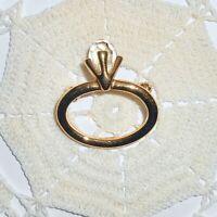 Vintage ANNE KLEIN  Engagement Wedding Ring Crystal Brooch Pin Gold Tone Bridal