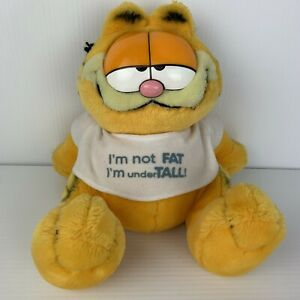 Vintage 1981 Garfield Plush Toy I'm Not Fat I'm Undertall Funny Novelty Cat Diet