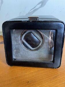 Authentic WOLF Torneau Watch Winder Rotator Black Leather Jewelry Box Case OEM