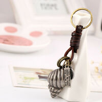 Key Pendant Key Chain Vintage Handmade Alloy Conch Leather Key Ring Accessories