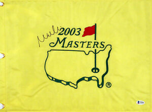 Mike Weir Autographed 2003 Masters Golf Flag Masters Winner Beckett V62603