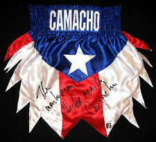 """Hector """"Macho"""" Camacho Autographed Signed Puerto Rico Boxing Trunks Asi Proof"""