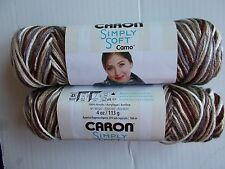 Caron Simply Soft Camo yarn, Woodland Camo, lot of 2 (204 yds each)
