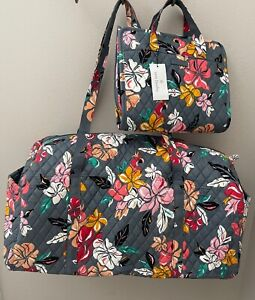 Vera Bradley COASTAL PARADISE Lg Travel Duffel Bag Luggage + Hanging Organizer