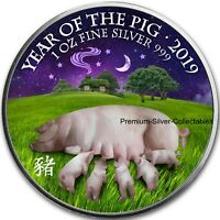 2019 Great Britain Year of the Pig - 1 Ounce Pure Silver Colorized coin