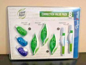 8 Pack Papermate 3 x Liquid Paper Dryline Grip 2 x Correction Pen Bundle 3 xMini