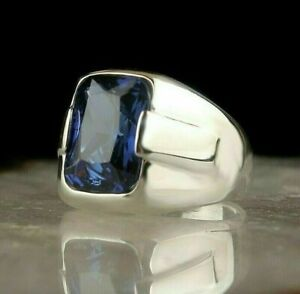 Solid Sterling 925 Silver Handcraft Jewelry Malagasy Blue Sapphir Men's Ring