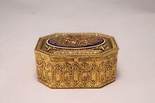 Fine French Gilt Bronze Enamel Jewelry Trinket Box Courting Scene Ovington Ny