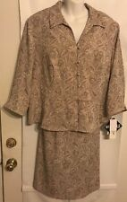 Lady Dorby Size 22W Women 2 piece Polyester Off White and Stone Suit NWT $89.99