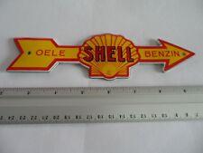 German SHELL - Garage Mini Doorpost Dealership - Porcelain Enamel Sign Shield