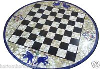 "30"" Black Marble Coffee Center Chess Table Top Lapis Inlay Marquetry Art H1620"