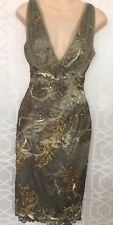 Mandalay Dress Sage Green With Sequins Embellished Lace Stretchy Size 4