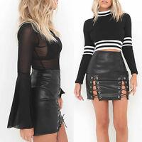 Sexy Lady PU Leather Split Wrap Pencil Skirts High Waist Mini Skirt Short Club