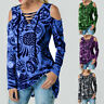Womens Cold Shoulder Tunic T Shirt Long Sleeve Floral Casual Loose Tops Blouse